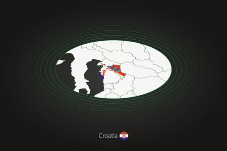 Croatia map in dark color, oval map with neighboring countries. Vector map and flag of Croatia