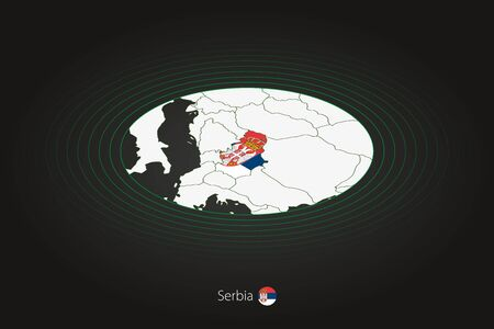 Serbia map in dark color, oval map with neighboring countries. Vector map and flag of Serbia Illusztráció