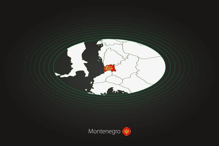 Montenegro map in dark color, oval map with neighboring countries. Vector map and flag of Montenegro