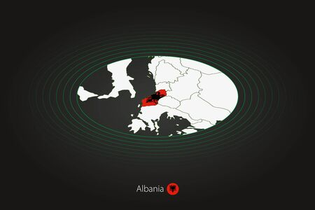 Albania map in dark color, oval map with neighboring countries. Vector map and flag of Albania Stock fotó - 140285055