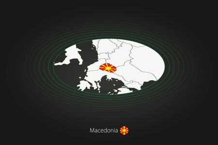 Macedonia map in dark color, oval map with neighboring countries. Vector map and flag of North Macedonia