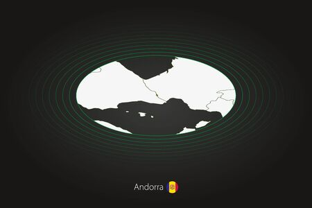 Andorra map in dark color, oval map with neighboring countries. Vector map and flag of Andorra Stock fotó - 140285968