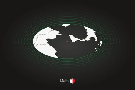 Malta map in dark color, oval map with neighboring countries. Vector map and flag of Malta Illusztráció