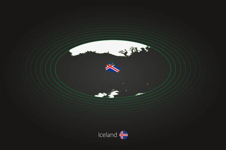 Iceland map in dark color, oval map with neighboring countries. Vector map and flag of Iceland Illusztráció