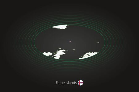 Faroe Islands map in dark color, oval map with neighboring countries. Vector map and flag of Faroe Islands Illustration