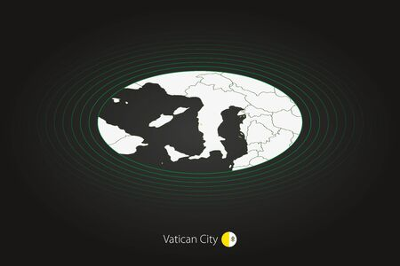 Vatican City map in dark color, oval map with neighboring countries. Vector map and flag of Vatican City Illusztráció