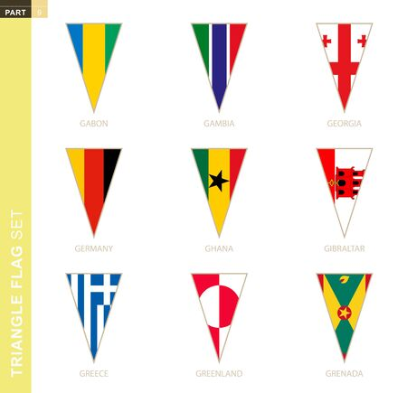 Triangle flag set, stylized country flags of Gabon, Gambia, Georgia, Germany, Ghana, Gibraltar, Greece, Greenland, Grenada