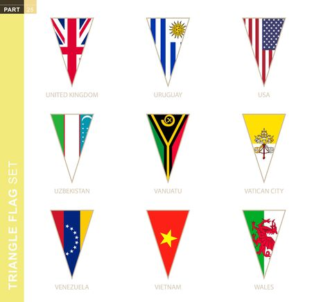 Triangle flag set, stylized country flags of United Kingdom, Uruguay, USA, Uzbekistan, Vanuatu, Vatican City, Venezuela, Vietnam, Wales