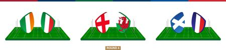 Rugby team Ireland vs Italy, England vs Wales, Scotland vs France on green rugby field, teams in rugby championship. Ilustração
