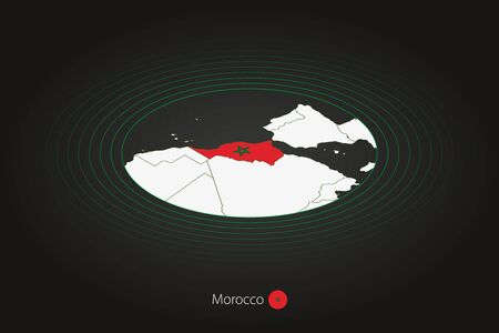 Morocco map in dark color, oval map with neighboring countries. Vector map and flag of Morocco