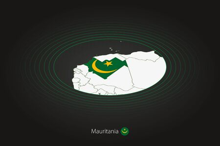 Mauritania map in dark color, oval map with neighboring countries. Vector map and flag of Mauritania Illustration