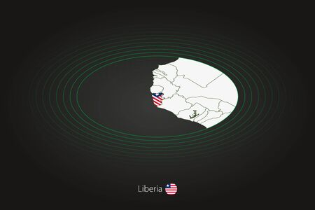 Liberia map in dark color, oval map with neighboring countries. Vector map and flag of Liberia