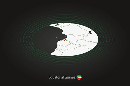Equatorial Guinea map in dark color, oval map with neighboring countries. Vector map and flag of Equatorial Guinea
