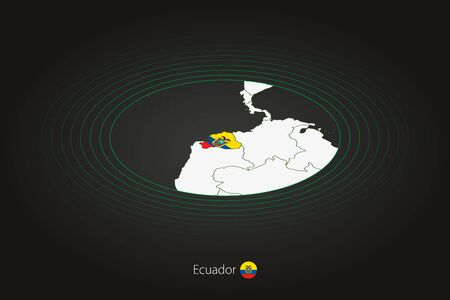 Ecuador map in dark color, oval map with neighboring countries. Vector map and flag of Ecuador
