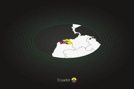 Ecuador map in dark color, oval map with neighboring countries. Vector map and flag of Ecuador