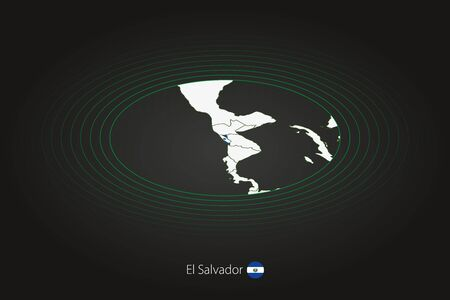 El Salvador map in dark color, oval map with neighboring countries. Vector map and flag of El Salvador Ilustração