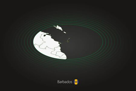 Barbados map in dark color, oval map with neighboring countries. Vector map and flag of Barbados