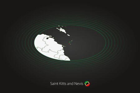 Saint Kitts and Nevis map in dark color, oval map with neighboring countries. Vector map and flag of Saint Kitts and Nevis