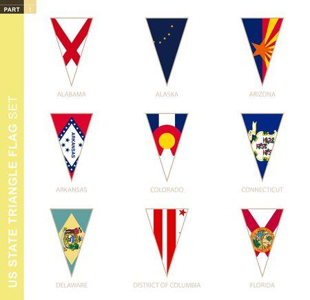 Triangle USA states flag set, stylized state flags of Alabama, Alaska, Arizona, Arkansas, Colorado, Connecticut, Delaware, District of Columbia, Florida