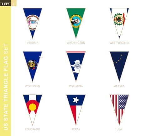 Triangle USA states flag set, stylized state flags of Virginia, Washington, West Virginia, Wisconsin, Wyoming, Alaska, Colorado, Texas, USA