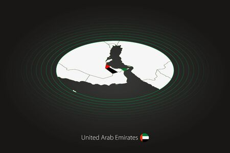United Arab Emirates map in dark color, oval map with neighboring countries. Vector map and flag of UAE