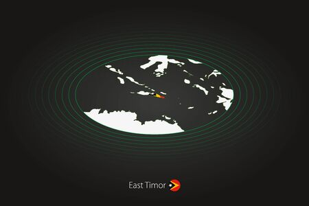 East Timor map in dark color, oval map with neighboring countries. Vector map and flag of East Timor