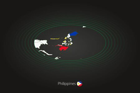 Philippines map in dark color, oval map with neighboring countries. Vector map and flag of Philippines