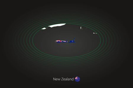 New Zealand map in dark color, oval map with neighboring countries. Vector map and flag of New Zealand 向量圖像