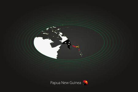 Papua New Guinea map in dark color, oval map with neighboring countries. Vector map and flag of Papua New Guinea  イラスト・ベクター素材