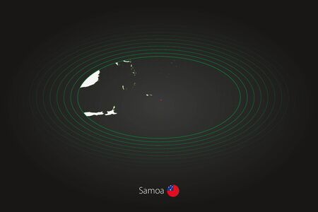 Samoa map in dark color, oval map with neighboring countries. Vector map and flag of Samoa  イラスト・ベクター素材