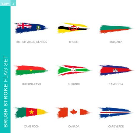 Vector brush stroke flag set, nine grunge flag: British Virgin Islands, Brunei, Bulgaria, Burkina Faso, Burundi, Cambodia, Cameroon, Canada, Cape Verde