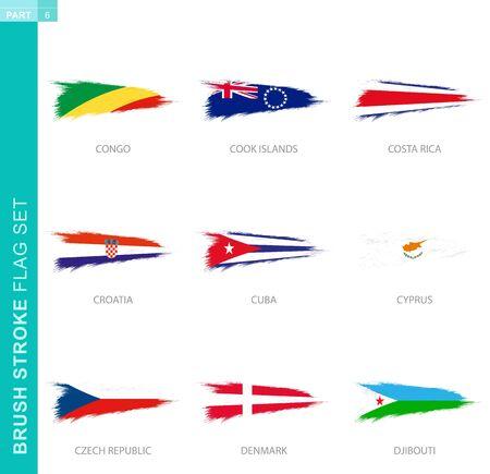 Vector brush stroke flag set, nine grunge flag: Congo, Cook Islands, Costa Rica, Croatia, Cuba, Cyprus, Czech Republic, Denmark, Djibouti