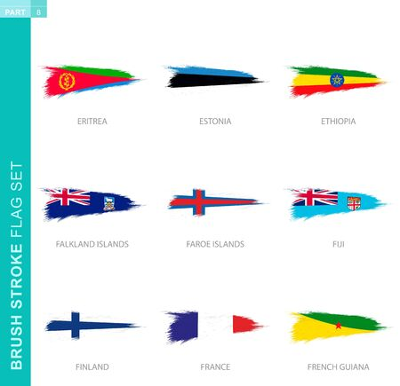 Vector brush stroke flag set, nine grunge flag: Eritrea, Estonia, Ethiopia, Falkland Islands, Faroe Islands, Fiji, Finland, France, French Guiana