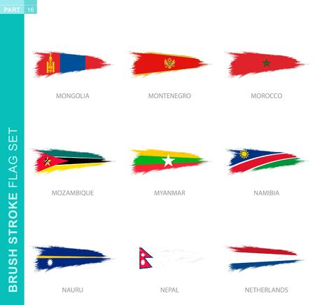 Vector brush stroke flag set, nine grunge flag: Mongolia, Montenegro, Morocco, Mozambique, Myanmar, Namibia, Nauru, Nepal, Netherlands