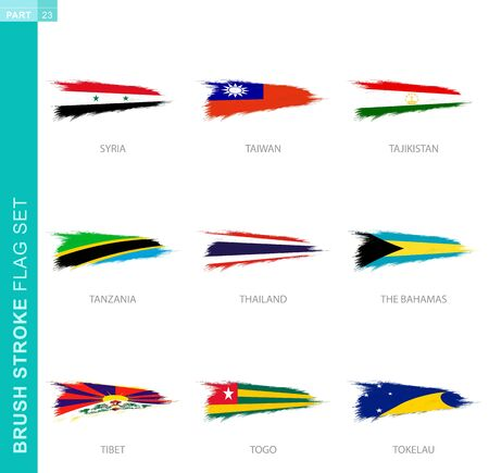 Vector brush stroke flag set, nine grunge flag: Syria, Taiwan, Tajikistan, Tanzania, Thailand, The Bahamas, Tibet, Togo, Tokelau
