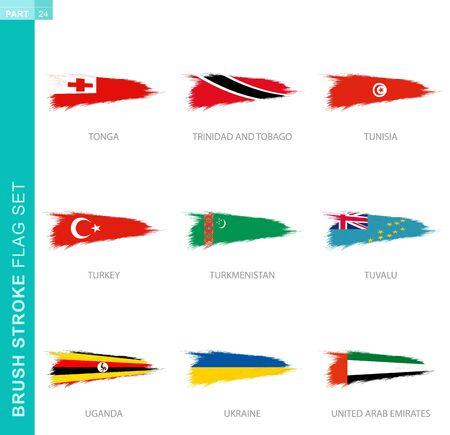 Vector brush stroke flag set, nine grunge flag: Tonga, Trinidad and Tobago, Tunisia, Turkey, Turkmenistan, Tuvalu, Uganda, Ukraine, United Arab Emirates 向量圖像