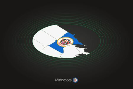Minnesota map in dark color, oval map with neighboring US states. Vector map and flag of US state Minnesota
