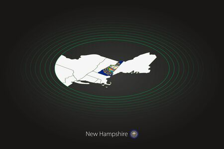 New Hampshire map in dark color, oval map with neighboring US states. Vector map and flag of US state New Hampshire