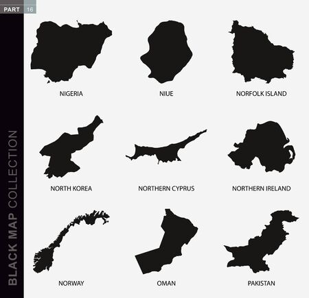 Black map collection, black contour maps of World. Map collection Part 16.