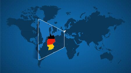 Detailed world map with pinned enlarged map of Germany and neighboring countries. Germany flag and map.