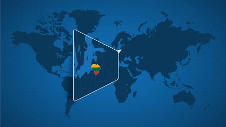 Detailed world map with pinned enlarged map of Lithuania and neighboring countries. Lithuania flag and map.