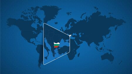 Detailed world map with pinned enlarged map of Bulgaria and neighboring countries. Bulgaria flag and map.