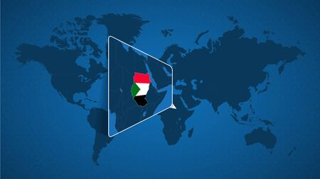 Detailed world map with pinned enlarged map of Sudan and neighboring countries. Sudan flag and map.