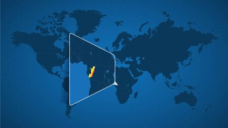 Detailed world map with pinned enlarged map of Congo and neighboring countries. Congo flag and map.