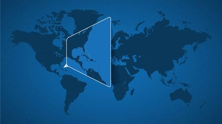 Detailed world map with pinned enlarged map of The Bahamas and neighboring countries. The Bahamas flag and map.