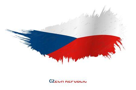 Flag of Czech Republic in grunge style with waving effect, vector grunge brush stroke flag. Ilustração