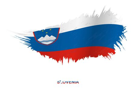 Flag of Slovenia in grunge style with waving effect, vector grunge brush stroke flag.
