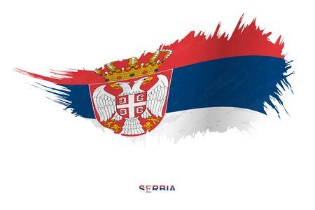 Flag of Serbia in grunge style with waving effect, vector grunge brush stroke flag.