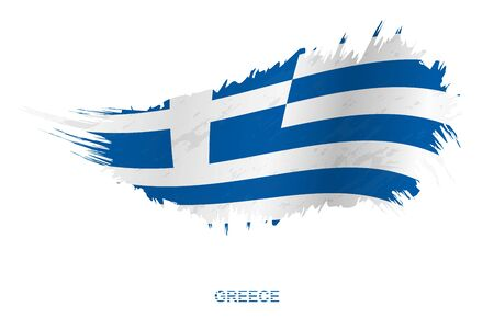 Flag of Greece in grunge style with waving effect, vector grunge brush stroke flag.