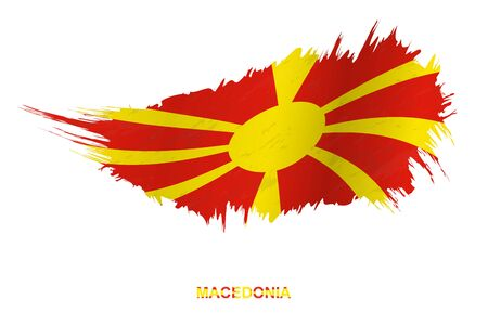 Flag of Macedonia in grunge style with waving effect, vector grunge brush stroke flag. Standard-Bild - 143861455